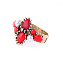 Red Crystal Gem Stones Bracelet Bangle Arm Cuff Vintage Gold Flower Imitation Pearl Jewels