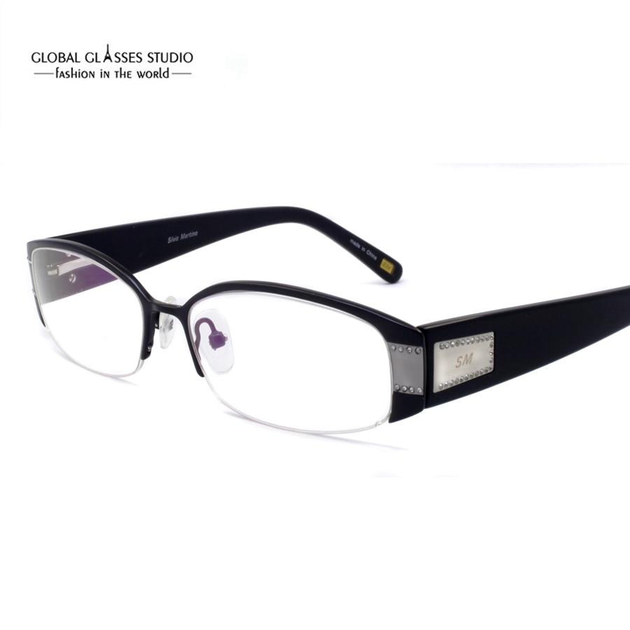 Brand Design Fashion Diamond Pink Women Eyeglasses Frames Computer ...