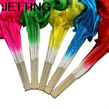 HE 2014 Beautiful Simulation Bamboo Long Veils Fans Pretty Hand Made Belly Dancing Fans Tools Red Rose Green Yellow Blue EH(China)