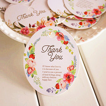 50pcs Vintage Flower Thank You DIY Scrapbooking Paper Kraft Blank Hang Tags Crafts Wedding Postcards Gift Tag Label Card(China)