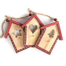 Christmas decoration supplies 3pcs wood house Chrismas hanging Pendant Christmas decoration for home xmas tree decor Ornament(China)