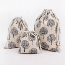 Black Trees Cotton Linen Storage Bag Eco-Friendly Shopping Tea/candy/key Package Drawstring Bag Small Cloth Bag Christmas Gift(China)