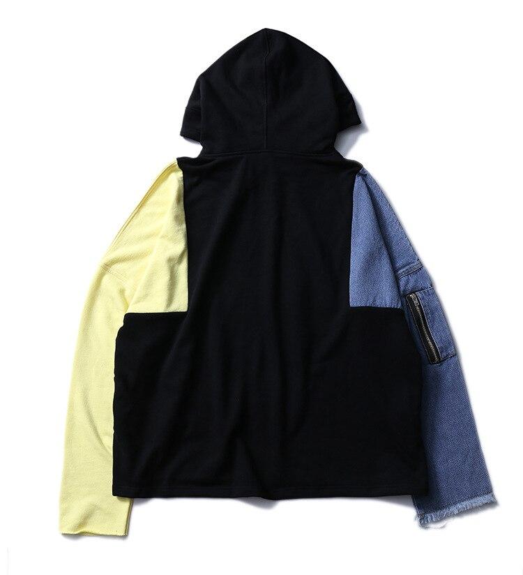 Envmenst Denim Sleeve Patchwork Men Hoodies Pgone Hip Hop Clothing New Design Warm Hoody Jacket Sweatshirt Sweat HommeF388