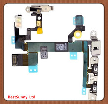 5pcs  Power Flex Cable With Bracket for iPhone 5s  Mute Switch Volume Button Flex Cable with Metal