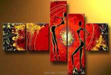 High Quality Sun Line Women Dancing Oil Painting On Canvas 5pcs Home Wall Art Sets Decoration Modern Picture For Living Room