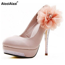 AicciAizzi women high heel shoes wedding bridal flower platform heeled lady pumps fashion diamond heels shoes size 35-43 D5614(China)