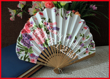 Free Shipping 100pcs/lot Japanese style cloth folding hand fan assorted colors & flower designs seashell shape bamboo frame fan(China)