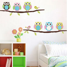 owls on tree wall stickers for kids rooms decorative adesivo de parede pvc wall decal 1020. animal mural art cartoon posters 2.5(China)