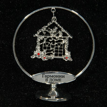 "New coming gift.Silver plated small house charms handicraft.home decor & souvenirs.creative gift box.""Family harmony"" symbol"