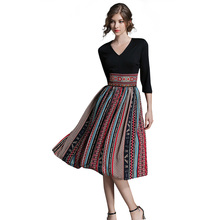 Buy 2017 women Summer Vintage Bohemian Chiffon print dress female Patchwork office dresses beach casual Holiday long dress for $21.44 in AliExpress store