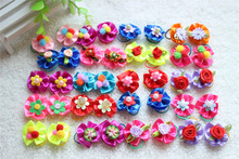 20pcs/lot Fashion Pet Dog Cat Bob Hair Bows Mix Color Rose New Lace Dog Hairpin Rubber Bands Handmade Boutique Gift(China)