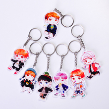 Hot Cute Acrylic BTS Boys  portrait Jung Kook Suga Jimin V Charms Keychains Key Rings Decor Gift Key chain Jewelry for BTS fans