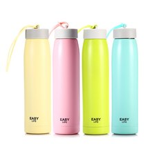 2016 Brand New Sunny Portable Pure Color Bottle U Cup U-01363 320ML Portable Stainless Steel Water Bottle with Hand Rope Hiking