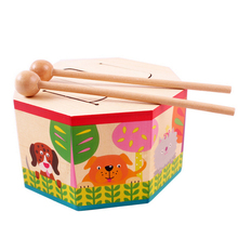 Free shipping Wooden Drum toys Early educational musical toys KidsToy Gift Set Roll toy Drum Musical Instruments Band Kit