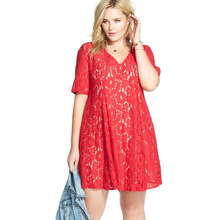 Buy Big Size Womens Dresses Fashion V-neck Dress Elegant Ladies Red Party Robe Fat MM 5xl Lace Maix Dresses Plus Size Women Clothing for $16.99 in AliExpress store