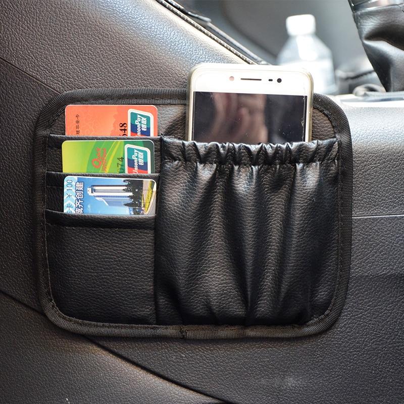 sun visor storage bag Auto PU leather Bag Storage Pouch For Gadget Cellphone Cigarette for universal car