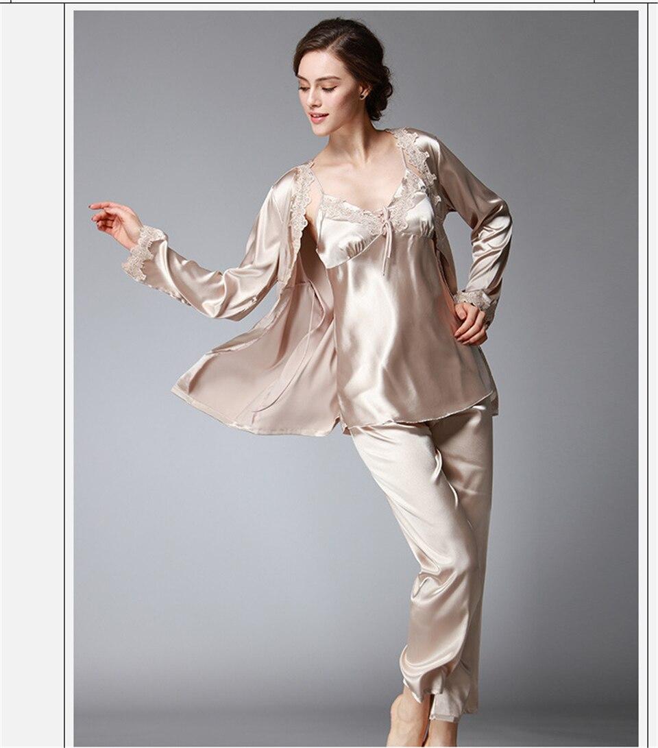 ec054f8ea9350 3 pièces Ensemble Pyjamas Femme Soie Vêtements De Nuit Femmes \ 's  Nightclown Sexy Chemise De Nuit Satin Chemise De Nuit Femmes Vêtements De  Nuit xxxl ...