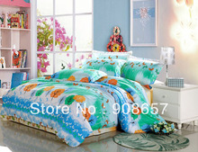 blue orange cartoon tree butterfly print cotton bedding girls bed linen bed set queen/full quilt/duvet covers sets for comforter