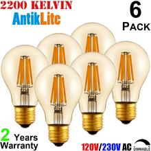 A19 A60 Amber Glass E26 E27 Edison Light Bulb, 220/230 Volts 4W 6W 8W Super Warm White 2200 2700 K/Kelvin LED Filament Bulb