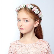 1 PC New Fashion Girls Bohemia Rose Flower Floral Hairband+bracelet Crown Floral Garland Headband Beach Headwear Ornament(China)