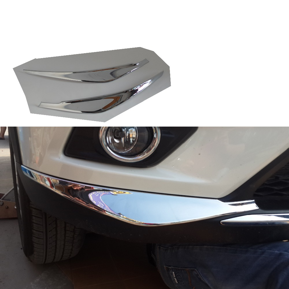 ABS Chrome Front Bumper Corner Protector Trim Cover 2Pcs/Set car styling stickers for Nissan X-Trail X Trail rogue T32 2014 2015<br>