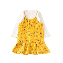 Fashion girls clothing kids cute casual birthday holiday party dress 2pcs cotton blended spring summer autumn baby girl dress(China)