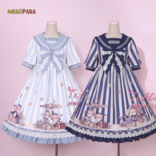Navy Bear Cute Women's Lolita OP Dress Summer Short Sleeve Bubble Dress Cute Big Bow One Piece Sailor Collar