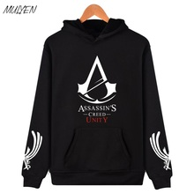 MULYEN Autumn Winter Assassin Creed Hoodies Men Black Cosplay Sweatshirt Costume Fleece Lined Assassins Creed Mens Hoodie(China)