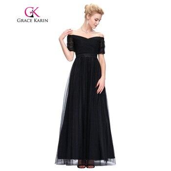 Grace karin largo prom dress 2017 sexy fuera del hombro de tul rojo cuello barco negro robe de soirée partido de manga corta de noche dress