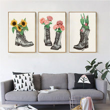 HAOCHU Modern Art Picture Flower & Boots Cactus Sunflower Canvas Painting Creative Poster for Living Room Background Decor