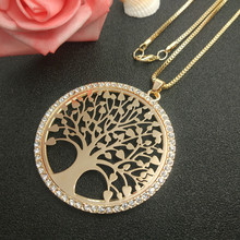 2017 New Arrival Gold Color Tree of Life Pendant Necklace For Women OWL Heart Palm With Crystal Long Necklace Fashion Jewelry(China)