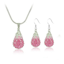 silver plated gradual color water drop pink crystal rhinestone necklace & earrings women bridal shamballa jewelry set