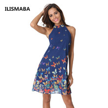 Buy new lady fashion summer sleeveless sexy brand dress high quality chiffon butterfly positioning flowers Halter Women Dress