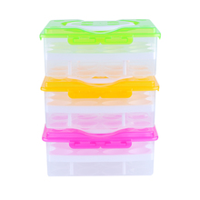 Double Layer 24 Grid Egg Box Food Container Organizer Convenient Storage Boxes Fashion Practical Kitchen Plastic Storge Box(China)