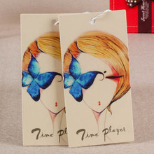 Custom Grade A 400 g Coated paper tags women dress artwork prints swing hang tag
