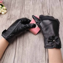 Fashion Striped PU Leather Gloves Cool Driving Thicken Winter Female Glove Mittens Black Bow Warm Guantes(China)