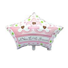 A New Little Princess Foil Mylar Balloons Crown Tiara Balloon for Baby Shower Birthday Party Decoration (Pink)