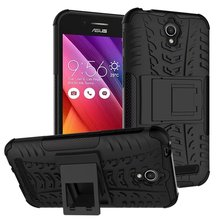 For Asus Zenfone C ZC451CG 4.5'' Silicone + PC Dual Layer Rugged 3D Tire Stand Case For Asus ZenfoneC ZC 451 CG Impact Cover(China)