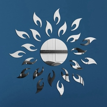 New Sun Style Acrylic Mirror Wall Stickers For Kids Rooms Decal Modern Design 3D Sticker For Kitchen Living Room Home Decoration(China)