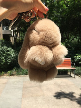 Light Camel Pom pom  Bunny  Handbag charm keychain Rabbit Fur keyring Khaki fur cham Car Keychains Backpack Wallet Pendants