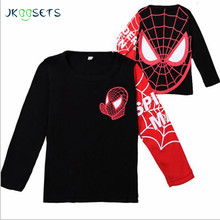 JKBBSETS Hot sale Kids Boys Baby Girls Spiderman Hero T-shirt long Sleeve kids Tops cotton children's Clothes(China)