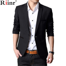 Riinr 2017 Fashion New Arrival Blazer Masculino High Quality Brand Autumn Casual Single Button Full Sleeve Men Blazer Slim Fit
