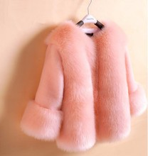 girls faux fur coats little girl pink jacket with Fur O-Neck Children's Faux Fox Fur clothes Long Sleeve Soft Fur winter coats(China)