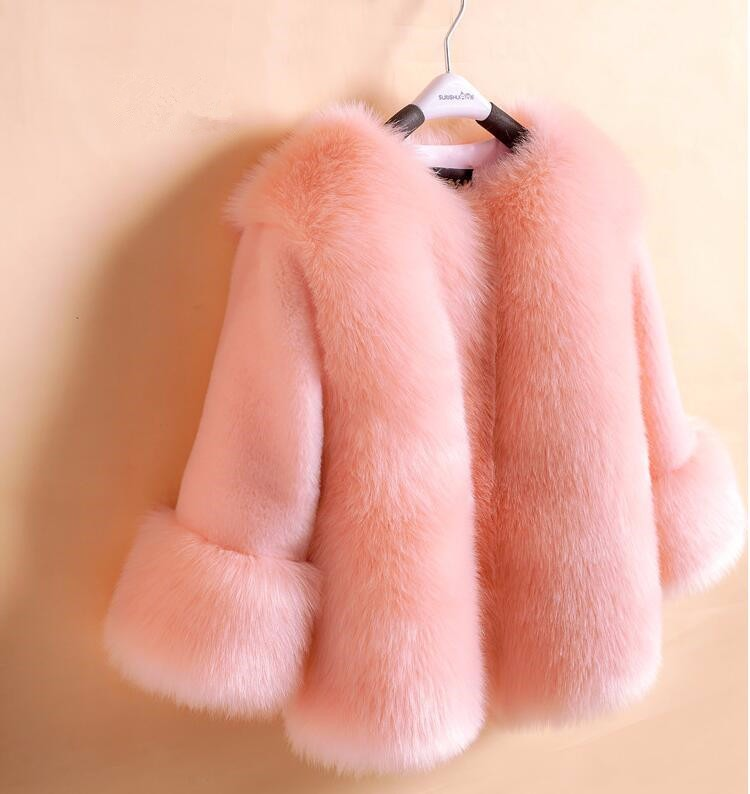 girls faux fur coats little girl pink jacket with Fur O-Neck Childrens Faux Fox Fur clothes Long Sleeve Soft Fur winter coats<br>
