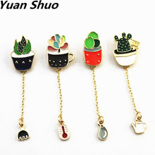 The new fashion Lovely green cactus Bonsai plants Enamel girl brooch free shipping new drip pin badge clothes pins wholesale(China)