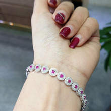 FLZB , Fine jewelry natural ruby gemstone in 925 sterling silver with 18k white gold plated bracelets casual style(China)