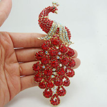 New Charming Peacock Bird Pendant Red Rhinestone Crystal Gold-Tone Brooch Pin