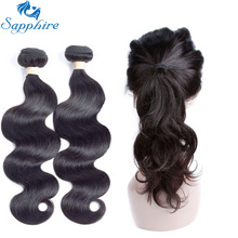 Sapphire Peruvian Hair Body Wave 2/3 Bundles With 360 Lace Frontal Closure Remy Human Hair With Lace Frontal Salon Hair Bundles(China)