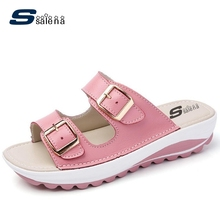 Brand Slippers Women Light Weight Breathable Leather Home Slippers Women Wedge Flip Flops AA30125
