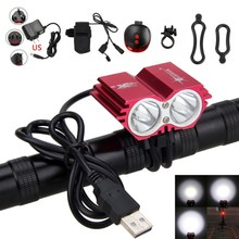 USB Charging 8000 Lumens  XM-L T6 LED Bike Light Cycling Front Bicycle Headlamp+Battery Charger Sets +Red Laser Taillight